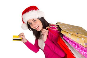 Young beautiful woman, Christmas shopping.