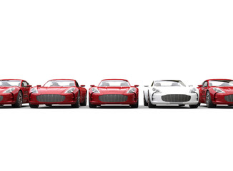 Row of red and white metallic cars on white background
