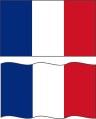 Flat and waving French Flag. Vector
