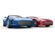 Dark blue and red metallic cars on white background