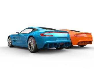 Blue and orange metallic cars