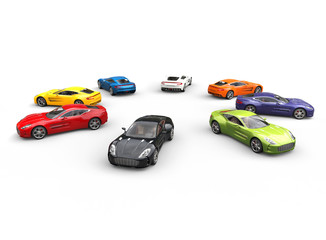 Top view on row of multicolored cars in a circle