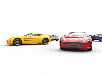 Multicolored cars on white background