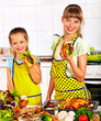 Children  cooking chicken at kitchen.