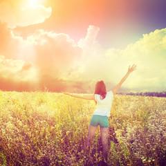 girl in the field of flowers