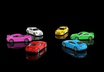 Multicolored cars facing each other in a circle