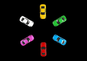 Multicolored cars facing each other in a circle - top view