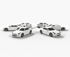 White cars in a circle