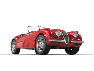 Red vintage car on white background