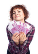 girl holding a lot of money