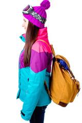 cute girl in a ski suit