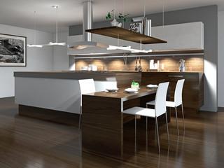 Moderne Einbauküche mit Holzelementen