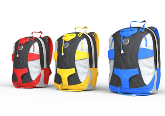 Red, yellow and blue backpacks on white background