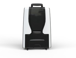 White travel baggage suitcase back view