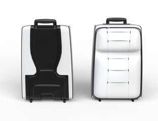White travel baggage suitcase - front and back view