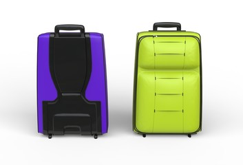 Green and purple travel baggage cases on white background