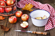 Fall (autunm) apples on a rustic wooden background
