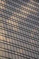 Moscow City - skycraper facade clouds mirroring