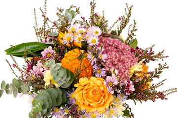 Bouquet of flowers with autumn decoration on isolated background