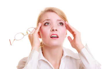 Headache. Woman suffering from head pain isolated.