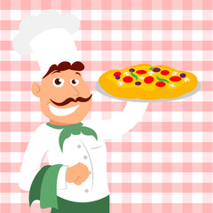 Cafe chef pizza illustration