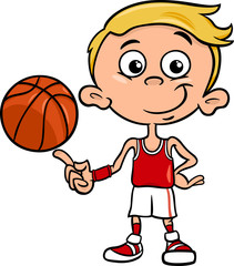 boy basketball player cartoon illustration