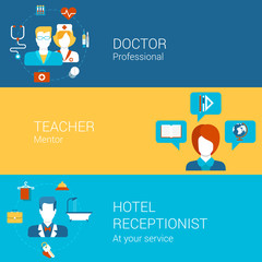 Doctor teacher hotel staff professions concept flat icons set