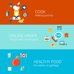 Food cooking infographic concept flat icons set cook professonal