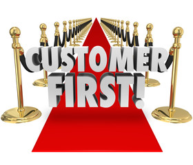 Customer First Words Red Carpet Top Priority Client Service