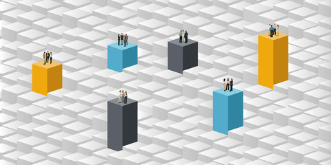 colorful template with business people over blocks