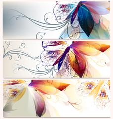 Vector  set of floral backgrounds for design