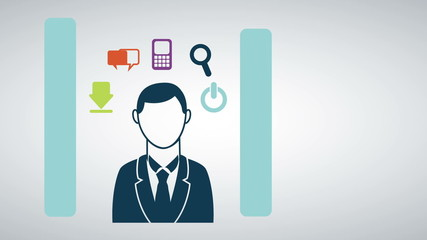 Busineess man with icons, Animation Design, HD 1080