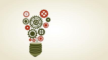 Bulb with industry wheels, Animation Design, HD 1080