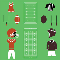 Set of American Football And Rugby Icons and Vectors