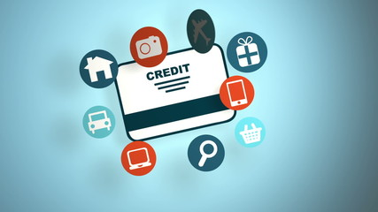 Credit card with icons, Animation Design, HD 1080