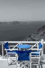 Table on terrace overlooking sea