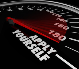 Apply Yourself Speedometer Gauge Success Try Effort Potental