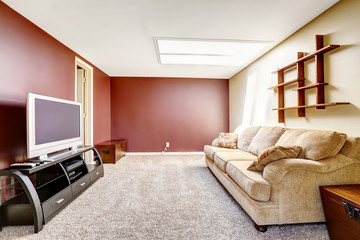 Living room with contrast color walls
