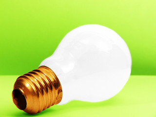 White BULB - green background
