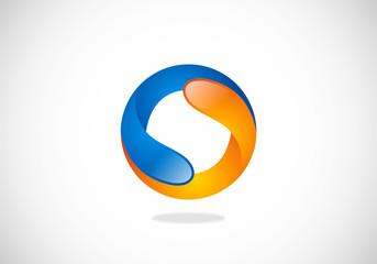 2D circle shape round infinity vector logo