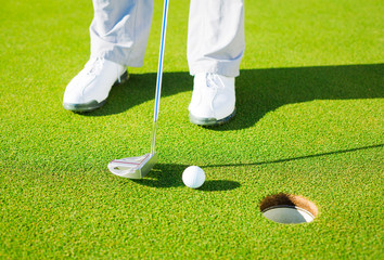 Detail Photograph of Man Putting Golf Ball into the Hole