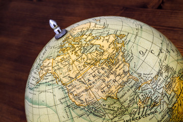 Old world globe: North America and Middle America