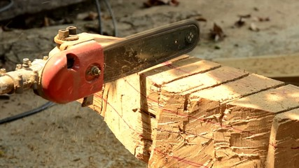 The chainsaw blade cutting wood.