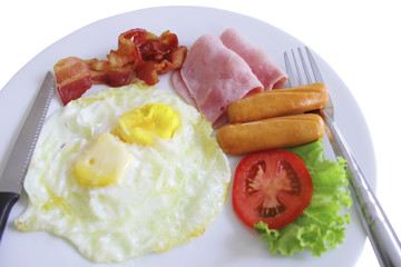 Plate of breakfast with fried eggs, bacon isolated on white back