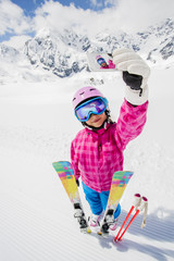 Ski, winter, selfie - lovely skier girl enjoying ski vacation