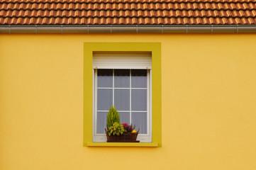 Renovierte Fassade mit PVC Fenster, Rollladen und Blumenschmuck