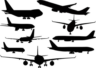 nine black airplanes collection isolated on white