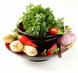Asian food ingredients (ginger, chilli, coriander and garlic)