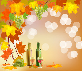 Banner   of wine in bottles and glasses