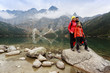canvas print picture - Hiking, trekking - tourist on mountain trek
